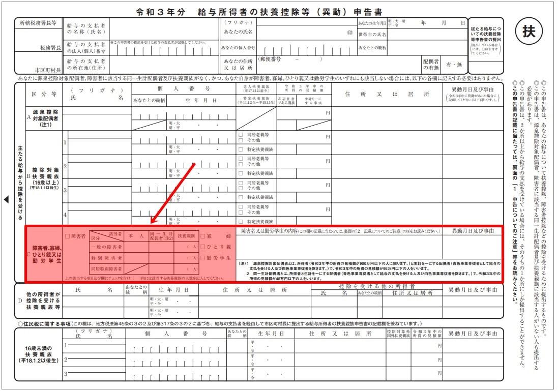 令和3年分給与所得者の扶養控除等申告書